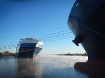 Ro-Ro ship and container vessel moored Stock Photography