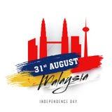 31ro texto de August Malaysian en remolque del movimiento del cepillo y del gemelo de Petronas Imágenes de archivo libres de regalías