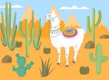 Roa den tystade ned laman med nationella bolivianska prydnader i det löst Öken med kakturs kaktus Bergen vektor illustrationer