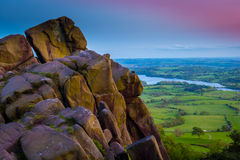 The Roaches, Peak District National Park. Sunset over the roaches Rocky out crop in the peak district national park uk Royalty Free Stock Photo
