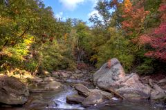 Roacky River In Autumn. The Rocky River in Berea Ohio during peak fall colors royalty free stock photo