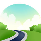 Road. Empty road  with cloud , green lawn with tree Stock Image