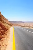 Road. Empty Highway In Desert Negev, Israel, Against Blue Sky Royalty Free Stock Photo