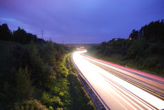 Road. The way located in Lithuania with a lot of lights of cars Stock Image