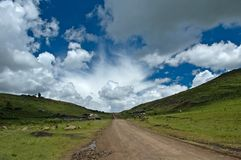 Road 12 van Lesotho Saddleneck stock foto