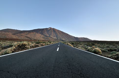 Road. Mountain road in Tenerife with a look of Teide Royalty Free Stock Photos