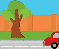 Road. Vectorial image of road of fence and green grass royalty free illustration