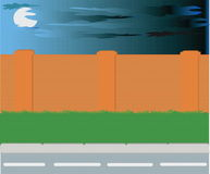 Road. Vectorial image of road of fence and green grass Stock Illustration