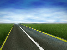 Road. Asphalt road grass and blue  sky Stock Photography