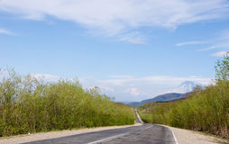Road. In rural landscape  to volcano Royalty Free Stock Photography