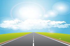 Road. Illustration, long road for horizon under blue sky Royalty Free Stock Image