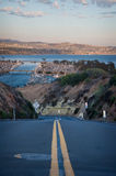 Road. Looking Down the Road and Across a Bay in Southern California royalty free stock images