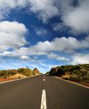 Road. Empty road, clouds. Canary islands Royalty Free Stock Images