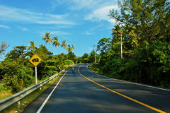 Road. Asia, thailand, coast, sun, cloud, travel, phuket, green, nature, relax, tourist, love, road, happy, sky, motobike, trees, palma, tropics, blue, asphalt Royalty Free Stock Photography
