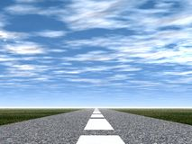 Road. 3d picture of a road  (asphalt with a white marking Royalty Free Stock Photo