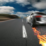 Road. Car, fire, sky, clouds Royalty Free Stock Photo
