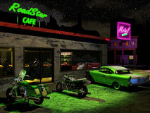 On the road. Exterior night scene. Close to a road, a cafe and a motel illuminated by neons. Several cars and motorcycles outside. Inside the cafe, several stock illustration