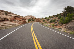 On the Road. Somewhere in Utah with dull weather, USA royalty free stock images