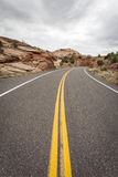 On the Road. Somewhere in Utah with dull weather, USA stock image