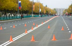 Road. City road before sports competition stock image