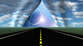 Road. Leads into rip in curtain of sky Royalty Free Stock Photo
