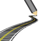 Road. Vector illustration of road drawn with crayon Stock Photography