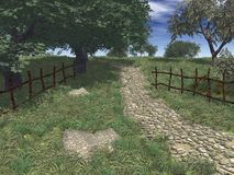 The road. Rural landscapes, illustration Royalty Free Stock Photo