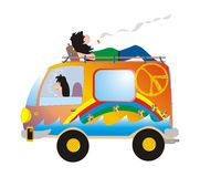 On the road. Hippie caricature Stock Illustration