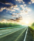 Road. In mountains at dawn Royalty Free Stock Photography