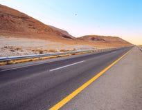 Road. Empty Highway in Desert Near Dead Sea,Israel Stock Photo