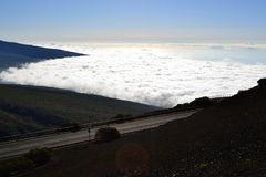 Road above the clouds Stock Photography