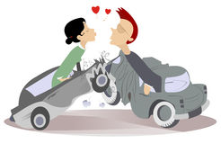 Road Accident And Love Couples Royalty Free Stock Images