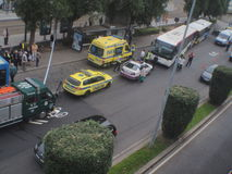 ROAD ACCIDENT ON BUS STATION Stock Photography