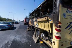 Road accident with a tourist bus Royalty Free Stock Photo