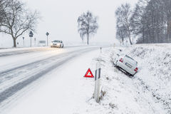 Road accident in winter Stock Image
