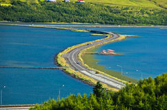 Road accross fjord near airport and city of Akureyri Royalty Free Stock Images