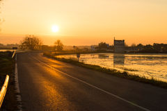 Road accross rice paddies Stock Images