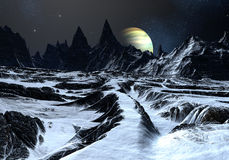 Road  Across an Alien Landscape. Track over twisted surface on alien planet towards distant mountains Stock Photo