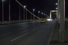 Road across bridge. Elisabeth Bridge Erzsebet at Danube river. Budapest Hungary royalty free stock photo