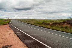 Road across Gran Sabana. Region in National Park Canaima, Venezuela royalty free stock photo