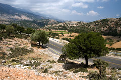 road across the middle part of Crete, Greece Royalty Free Stock Image