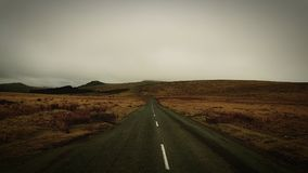 Road across the moor . Dartmoor National Park . DEVON . Uk Royalty Free Stock Image