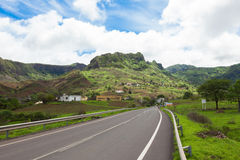 Road across the  mountainous landscapes of   Santiago Island Cap Royalty Free Stock Photo