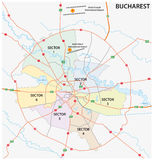 Road administrative map of the Romanian capital Bucharest Stock Image