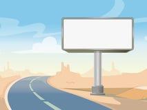Road advertising billboard and desert landscape. Vector illustration Stock Photo
