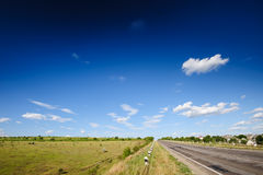 Road and agricultural fields in Moldova Stock Photography