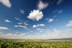 Road and agricultural fields in Moldova Royalty Free Stock Image