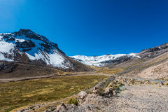 Road Aguada Blanca peruvian Andes at Arequipa Peru Royalty Free Stock Images