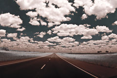 The Road Ahead. Infrared photo of the open road stock photo