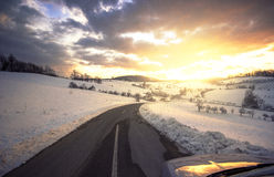 Road ahead. Beautiful  sunset in january with a road ahead Royalty Free Stock Images